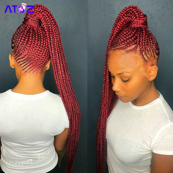 Wine Red Box Braids Synthetic Hair