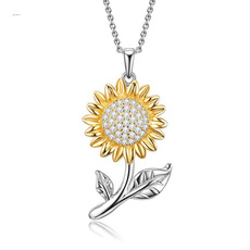 925necklace, Sunflowers, sunflowerpendant, Diamond Necklace