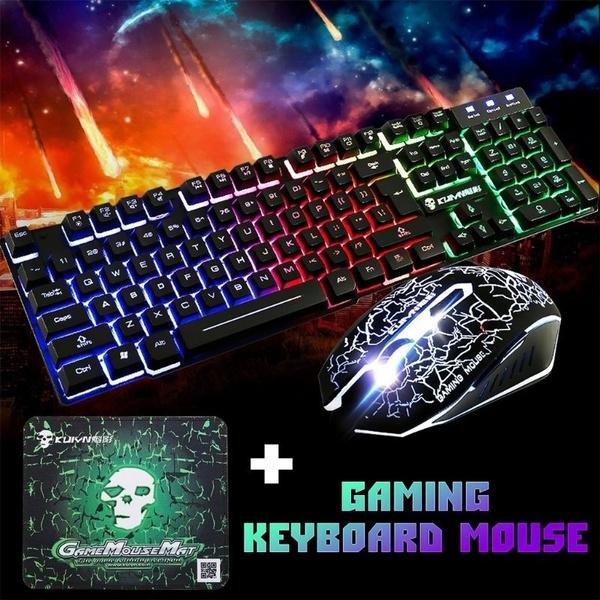 Rainbow LED Backlight Usb Ergonomic Gaming Keyboard and Mouse Set for PC Laptop