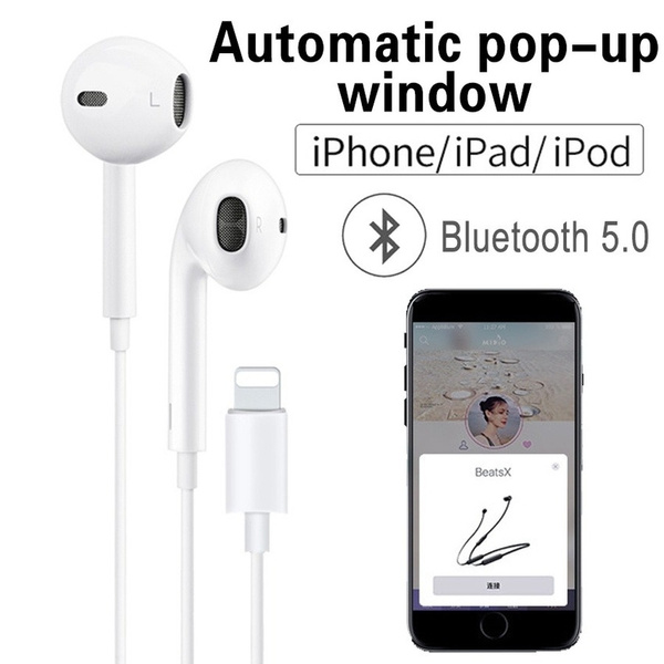 Bluetooth 5 0 Earbuds Can Automatically Pop Up Window Wired Bluetooth Headset For Apple Iphone X Xr Xs Max 8 7 Plus Headset With Microphone Headset Wish