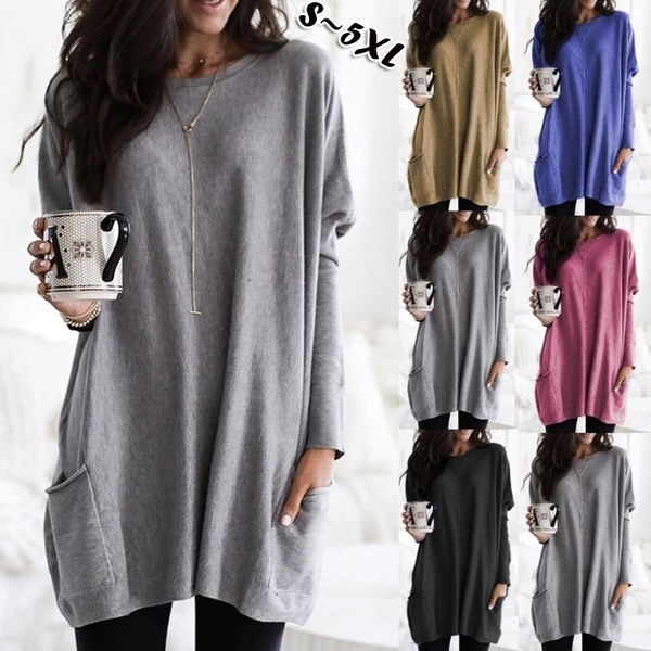 Pocket, Plus Size, long sleeve blouse, Winter
