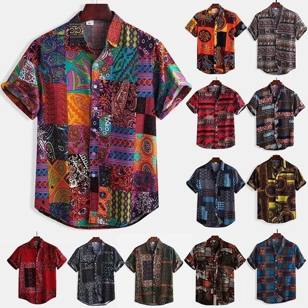 YYear Mens Summer Button Down Plus Size Ethnic Print Short Sleeve Loose Beach Shirt