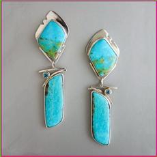Sterling, Turquoise, DIAMOND, Gemstone Earrings