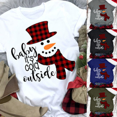 cute, Plus Size, snowmanprint, topsamptshirt