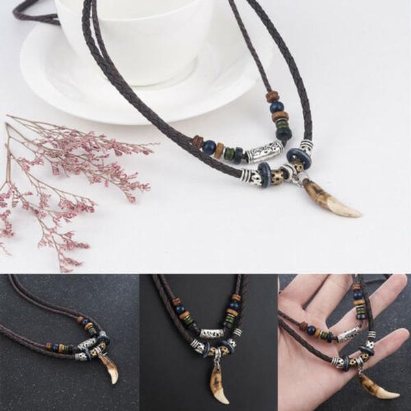 1PC Cross Pendant Leather Beaded Weaved Necklace Fashion Bohemia Prayer Jewelry