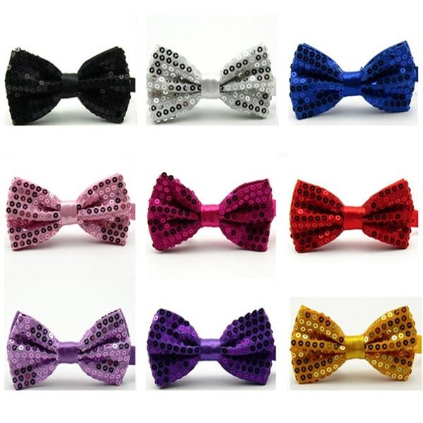 Men Fashion Solid Color Sequin Glitter Bow Tie Adjustable Wedding Bowtie Necktie