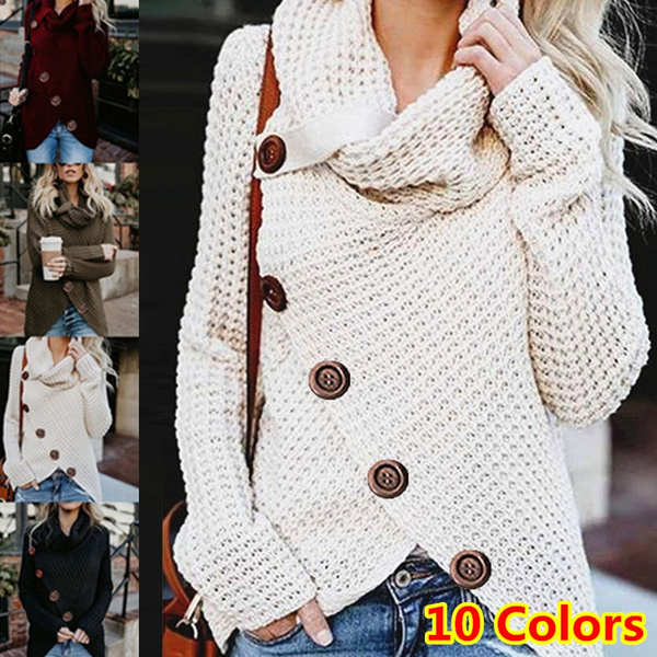 Fashion Women Turtleneck Solid Color Long Sleeved Buttons Pullover Sweater Top Irregular Hem Loose Knited Sweaters for Women