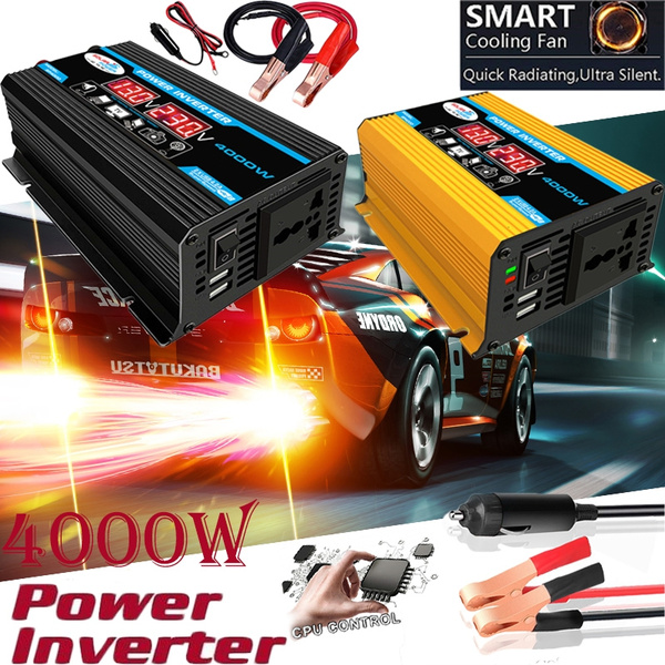 Peaks Power 4000w Dc 12v To Ac110 220v Solar Power Inverter Dual Usb Voltage Display High Quality Car Inverter Household Camping Outdoor