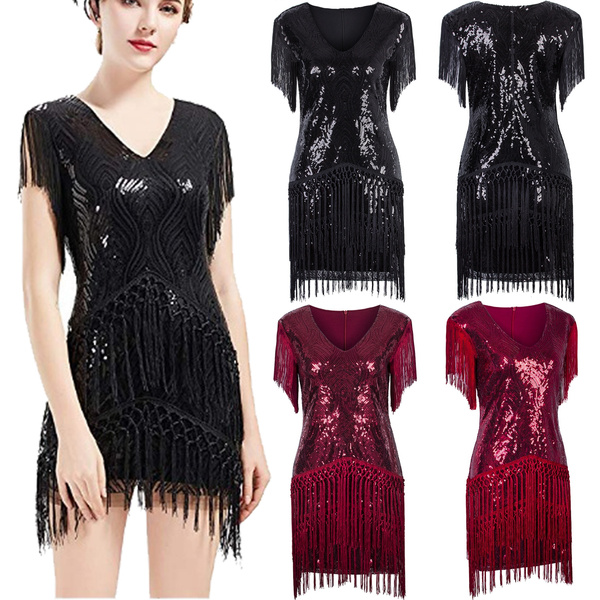 Women's Flapper Dresses 1920s V Neck Beaded Fringed Great Gatsby Dress Women's 1920s Gatsby Inspired Sequin Beads Long Fringe Flapper Dress with