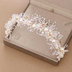 golden, Flowers, handwoven, pearls