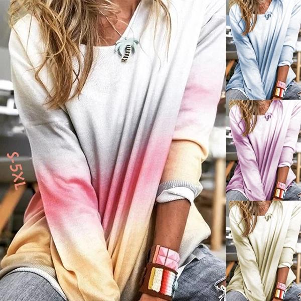 gradientcolor, blouse, trending, Spring/Autumn