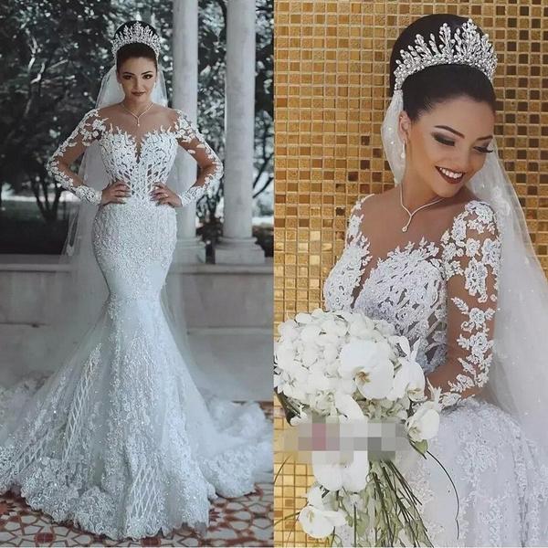 Vestido De Noiva Sexy Long Sleeves Lace Wedding Dress 2019 New See Through Back Lace Mermaid Robe De Mariee Custom Bride Dress