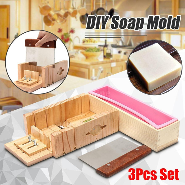 DIY Handmade Soap Tools Silicone Mold Soap Making Tool Kit with Adjustable  Wooden Loaf Cutter Box And Stainless Steel Blade
