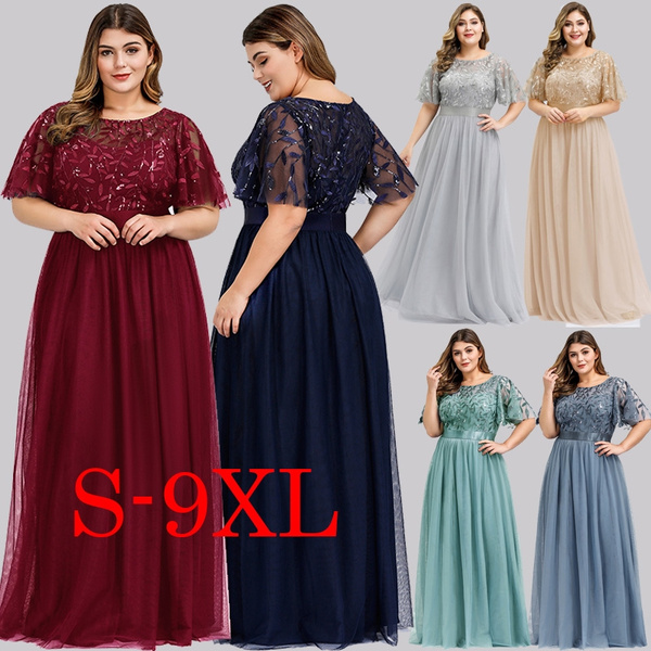 Ever-Pretty New Plus Size Fashion Women Vestidos De Fiesta O Neck Short  Sleeve Sequins and Embroidery Evening Party Prom Maxi Dress Robe De Soiree  ...
