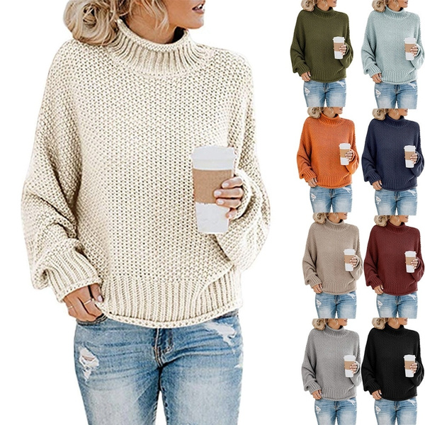 2019 Women Turtleneck Sweaters Batwing Long Sleeve Casual Loose Oversized Chunky Knit Pullover Jumper Tops by Wish