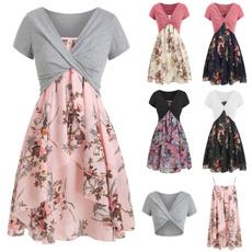 Flowers, Floral print, plus size dress, Dress