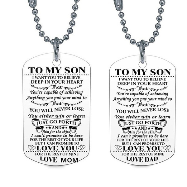 I Love You Pendant Military Ball Chain Her on Graduation Birthday Christmas You are My Best Friend Stainless Steel Dog Tag Wife