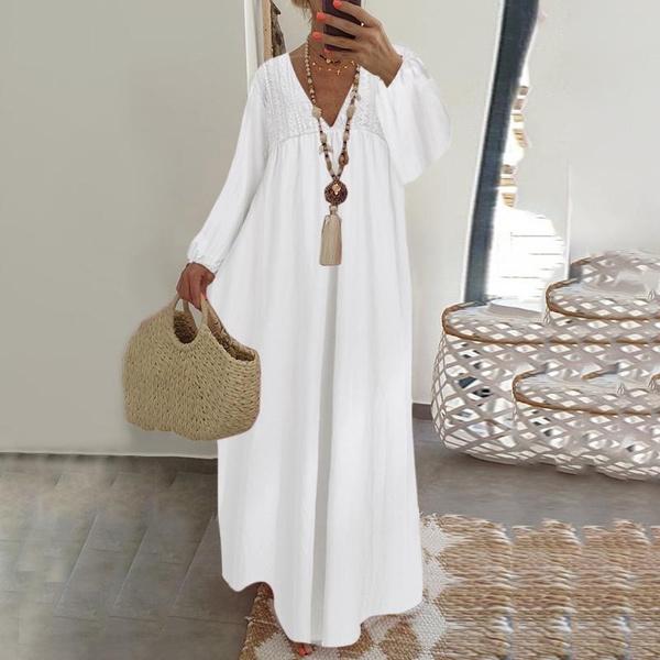 pleated dress, Necks, Long Sleeve, linendressesforwomen