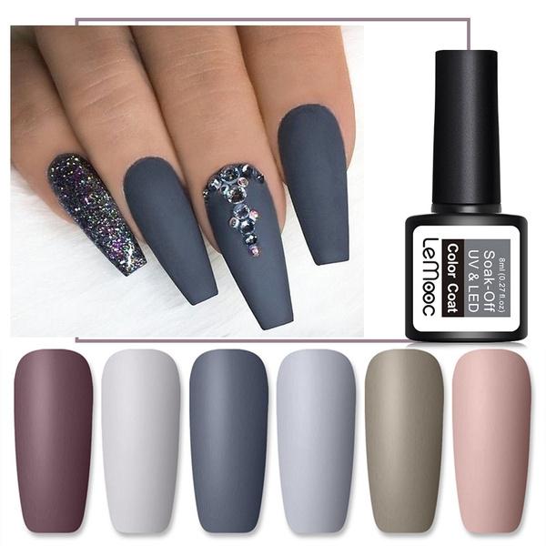 Lemooc 8ml Autumn Winter Gray Series Matte Dull Gel Nail Polish Fashion Women Nail Uv Gel Matte Top Coat Needed