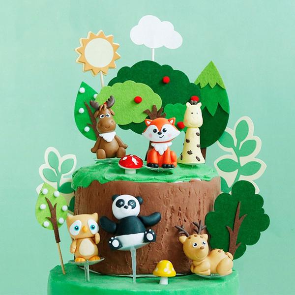 Wondrous Fox Owl Sika Deer Happy Birthday Cake Topper Green Felt Trees Personalised Birthday Cards Akebfashionlily Jamesorg