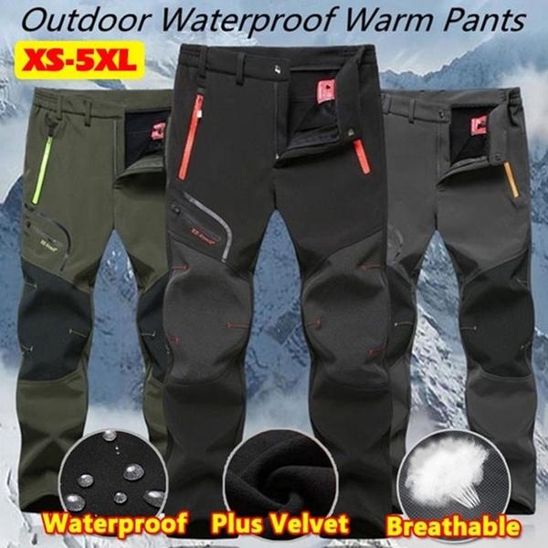 Winter Mens Hiking Trousers Fleece Lined Warm Waterproof Outdoor Trekking Pants