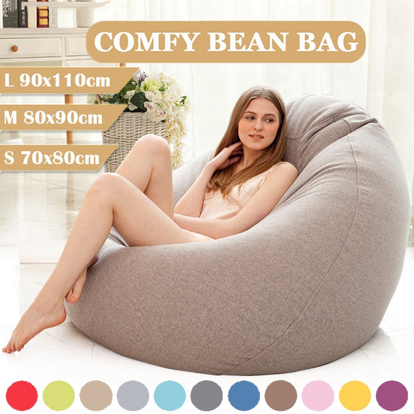 Pleasing New S M L 9 Colors Stylish Bean Bag Sofa Cover Lounger Chair Sofa Seat Living Room Furniture Without Filler Beanbag Sofa Bed Pouf Puff Couch Cotton Ibusinesslaw Wood Chair Design Ideas Ibusinesslaworg
