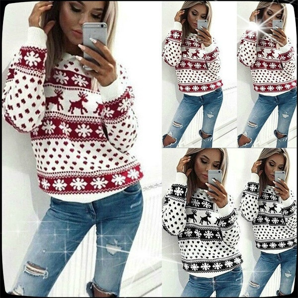 Christmas Tops Plus Size.Christmas Snowflake Reindeer Jumper Fashion Chic Women Oversized Knit Sweater Top Plus Size