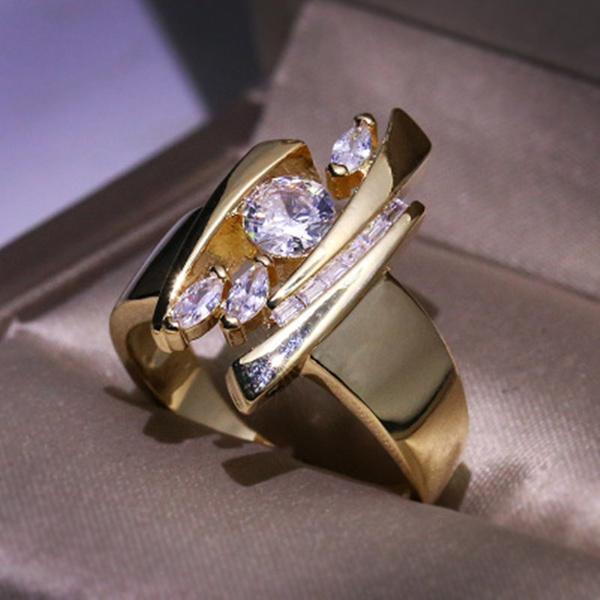 Unique Plated Geometric Diamond Rings