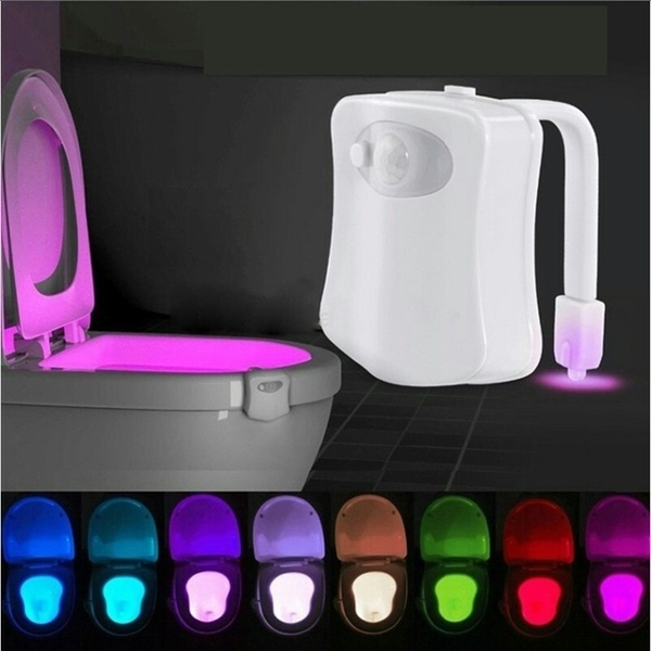 Toilet Night Light LED Motion Activated Sensor Lamp Bathroom Seat Bowl