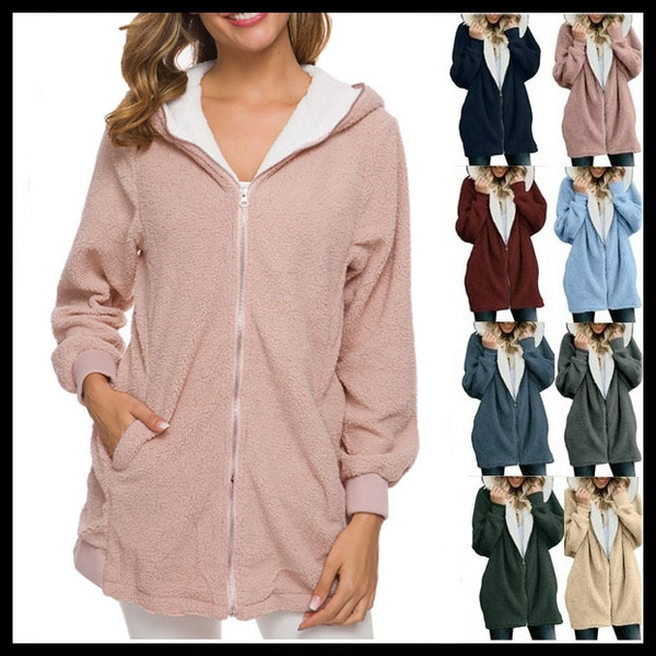 Warm Winter Lady Long Sleeve Hooded Cardigan Zip Up Jacket Coat Plus Size Casual
