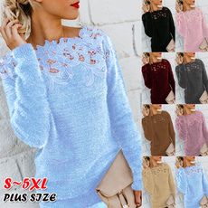 knitted, Plus Size, Lace, Sleeve