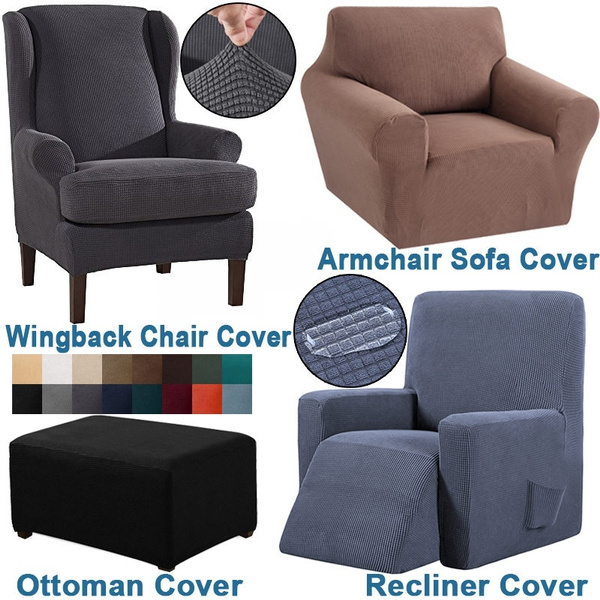 High Elastic Waterproof Ottoman Cover Wingback Chair Recliner Covers Armchair Sofa Cover Stretch Furniture Slipcover Washable Solid Color Knitted