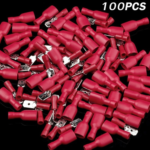 100Pcs Insulated Spade Wire Crimp Cable Connector Terminal Male /& Female Kit new