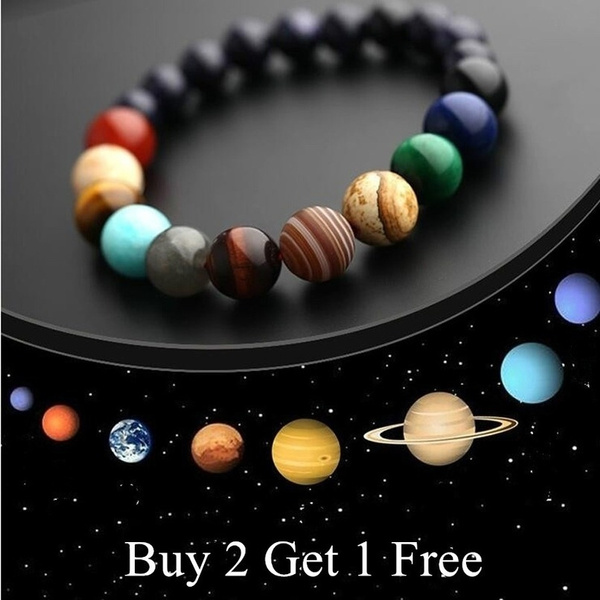 Eight Planets Bead Bracelet Men Natural