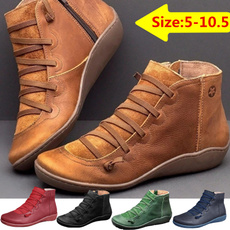 ankle boots, Fashion, Leather Boots, flatsboot