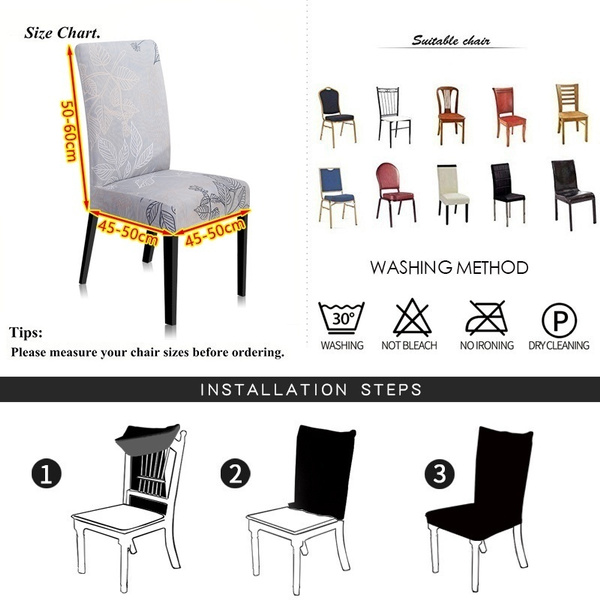 Wish | 2/4/5/6PCS   Elastic Restaurant Chair Cover Solid Color Home Living Dining Chair Set Spandex  Printed chair cover anti-fouling detachable Slipcover