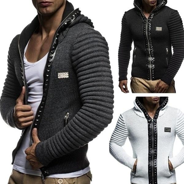 New Arrival Men Fashion Hoosies Sweater Coat Long Sleeve Knit Cardigan Slim Fit Zipper Sweaters Warm Winter Outwear Knit Sweaters Plus Size Pocket