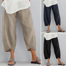 Women Pants, elasticwaistpant, Cotton, trousers