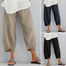 Women Pants, elasticwaistpant, Cotton, trousers