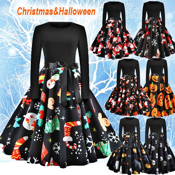Fashion, Long Sleeve, Dress, Halloween