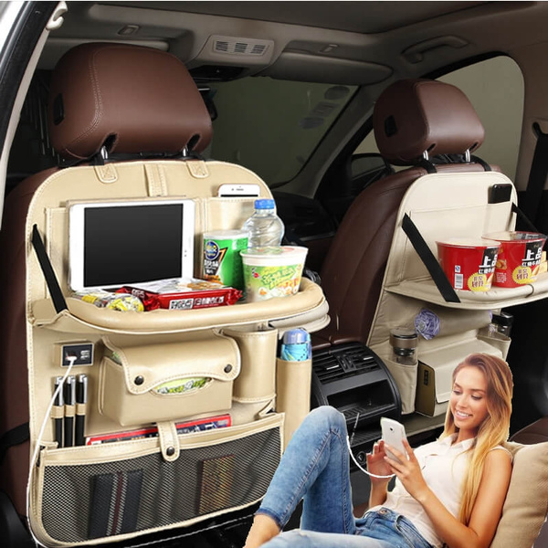 Car Backseat Organizer Auto Seat Back Protector With 4 Usb