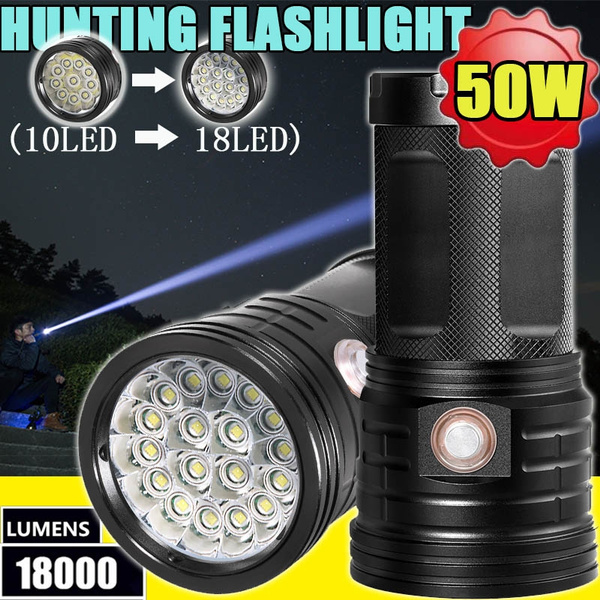 Outdoor LED Bright Charging Strong Light Flashlight Torch Light One Lamp Head BR