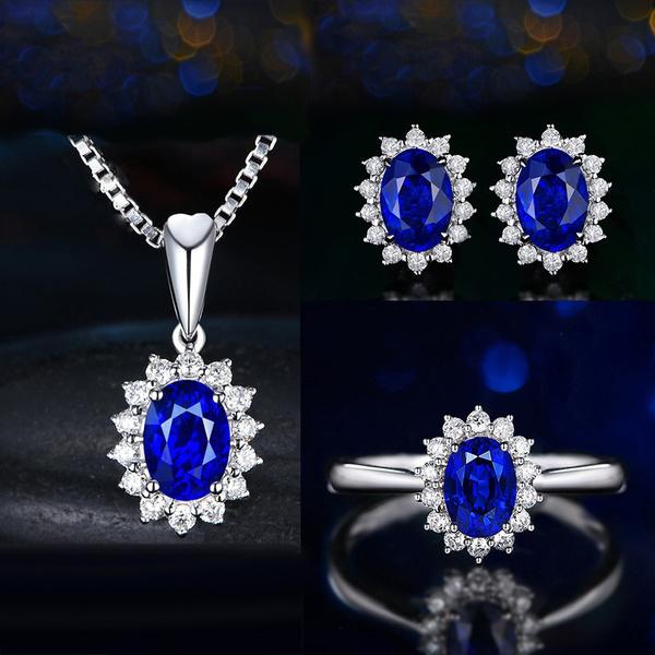 4pcs Set Luxury Sapphire Princess Crown Necklace Set European And