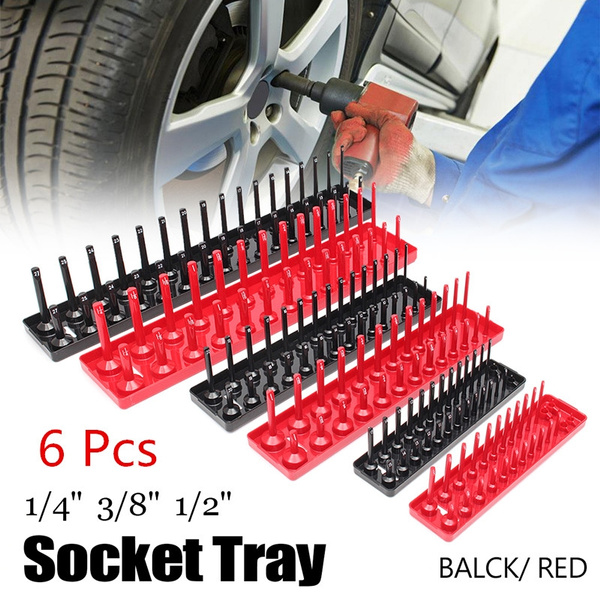 6Pcs 1//4/'/' 3//8/'/' 1//2/'/' Metric SAE Socket Trays Rack Holder Rail Tool Organizer