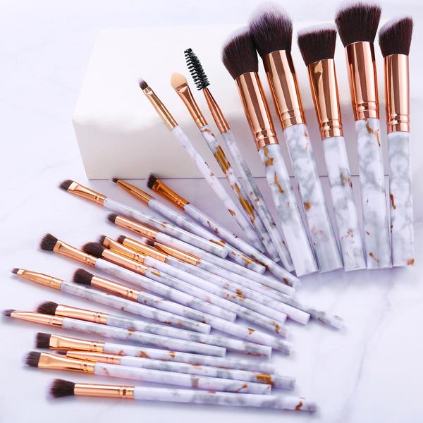 5/10/15/20/25pcs Eyeshadow Foundation Marble Makeup Brushes Set Professional Blush Powder Concealer Eyebrow Blending Brush For Women Cosmetic Make Up Tools  by Wish