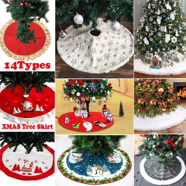 90cm Christmas Tree Skirt Plush Xmas Lovely Snowflake Snowman Decorations Home Party Festival Round