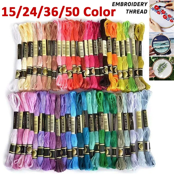 15/24/36/50 Color Multi Color Floss Embroidery Cross Stitch Threads Crafts Cotton Premium  Cross Stitch Threads Home Arts & Crafts Sewing Skeins Crafts Needle Art Accessories by Wish