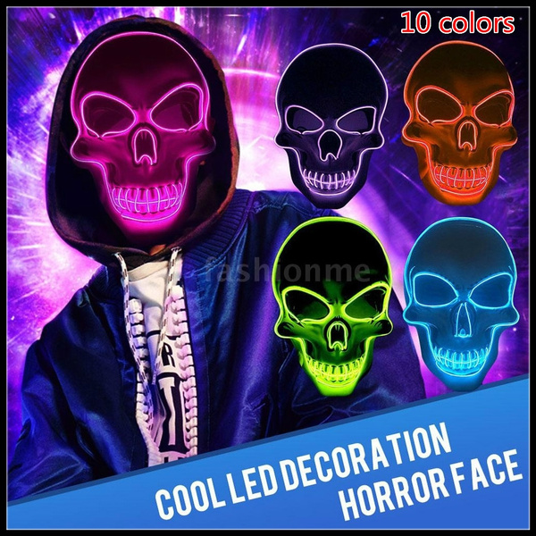 Halloween Skeleton LED Mask Glow Scary Mask EL Wire Light Up Skull Masks Cosplay
