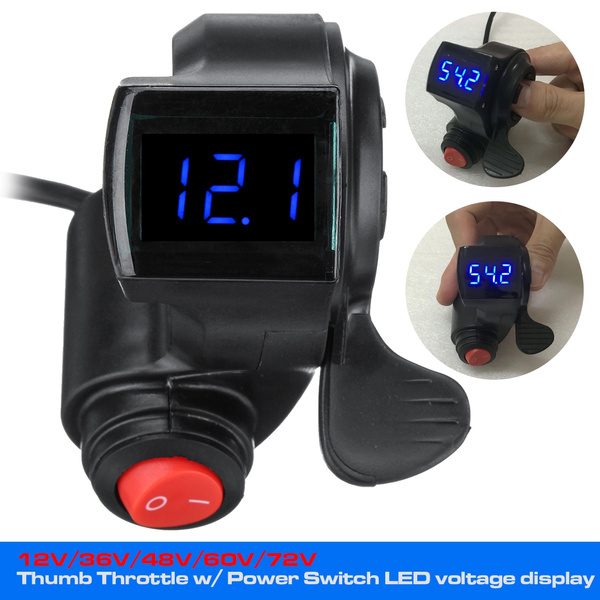 Key E-bike Thumb Throttle Electric Scooter LCD Battery Voltage Display w// Lock