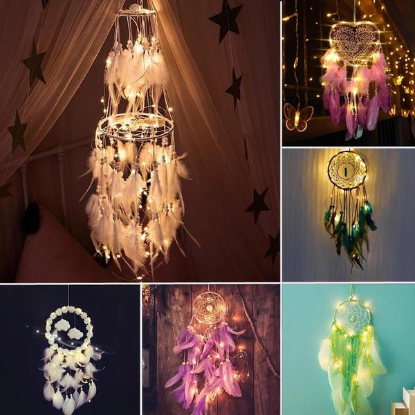 led, decoration, feather, Night Light